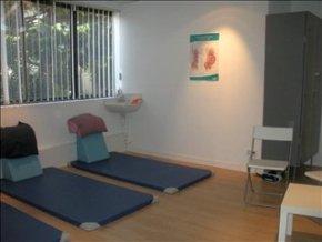 Salle de préparation à la naissance bleue